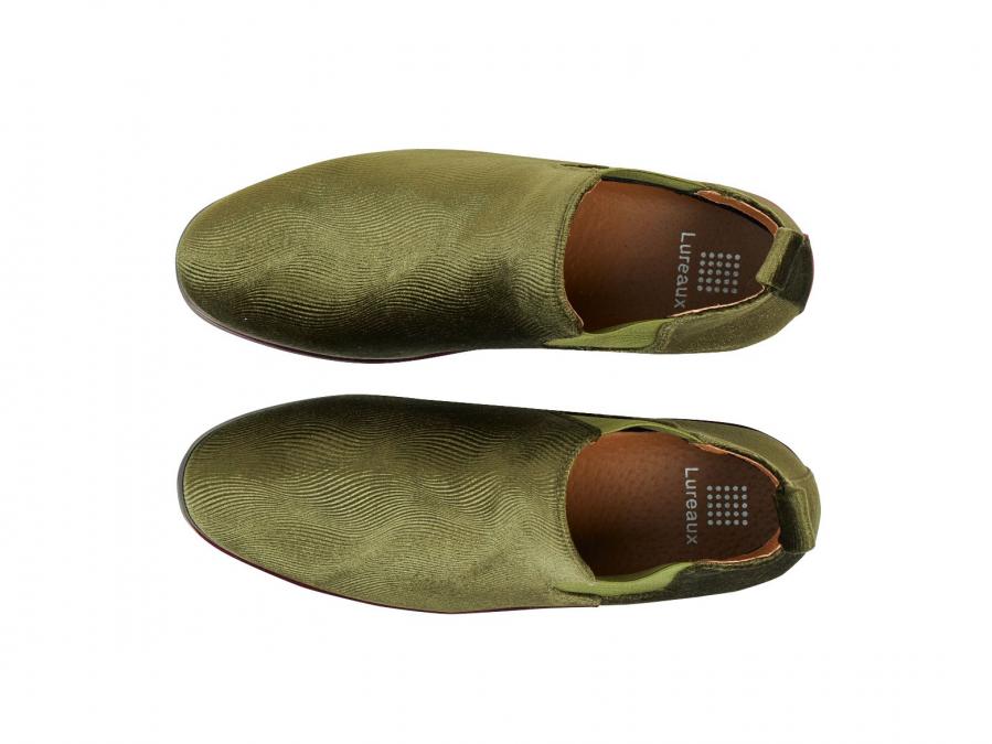 Corduroy Green Chelsea Boots