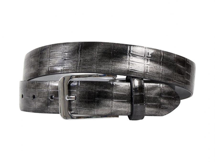 Silber, Grau, Krokodil, Druck, Motiv, Gürtel, Herrengürtel, Lureaux, Designer, limitierte Auflage